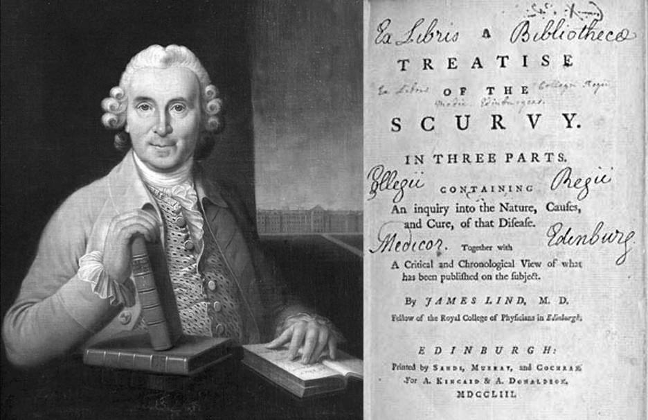 Abbildung 1: Der schottische Schiffsarzt James Lind (1716–1794) mit den von ihm verfassten Büchern und der Titelseite seiner berühmtesten Schrift.